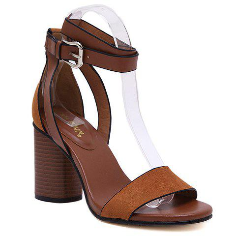 Trendy Suede and Buckle Strap Design Sandals For Women - DEEP BROWN 34