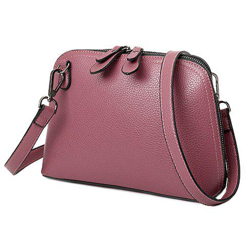 Concise Embossing and PU Leather Design Women's Crossbody Bag - DEEP PINK