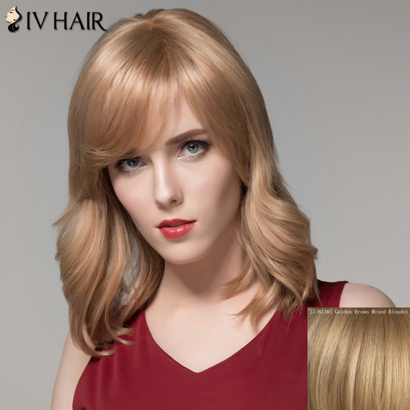 Fluffy Natural Wavy Graceful Medium Side Bang Real Natural Hair Wig For Women - GOLDEN BROWN/BLONDE