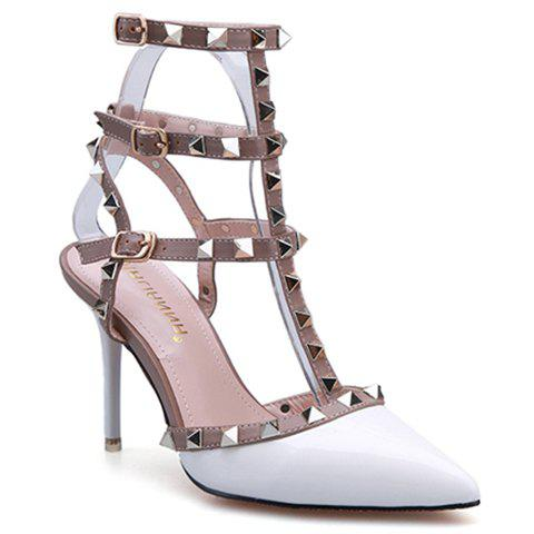 Sexy Patent Leather and Rivets Design Sandals For Women - WHITE 36