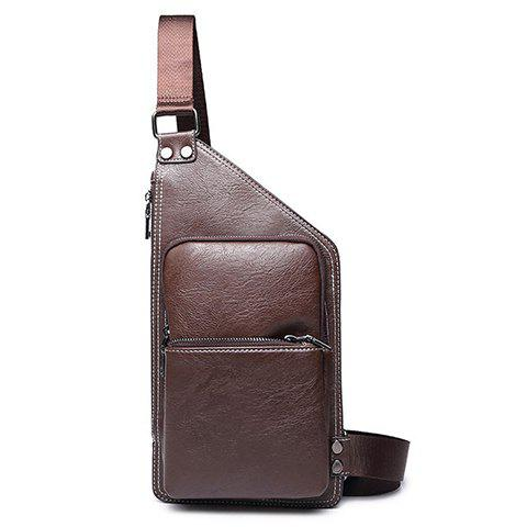 Simple Solid Colour and Zippers Design Men's Messenger Bag