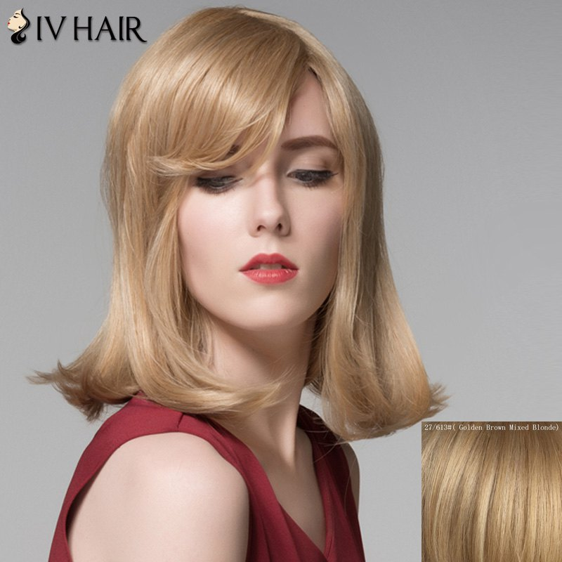Attractive Straight Tail Adduction Capless Vogue Medium Side Bang Women's Human Hair Wig - GOLDEN BROWN/BLONDE