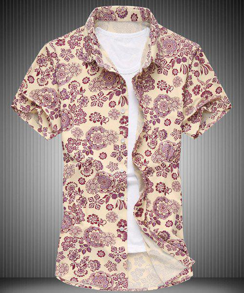 Summer Turn-down Collar Floral Print Men's Short Sleeves Shirt - RED 6XL