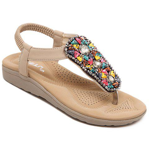 Casual Elastic Band and Rhinestones Design Sandals For Women - APRICOT 36
