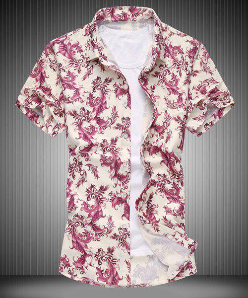 Plus Size Turn-down Collar Floral Print Men's Short Sleeves Shirt - RED L
