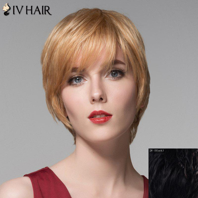 Ladylike Human Hair Side Bang Straight Short Wig For Women - BLACK