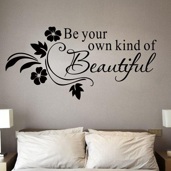 Stylish Removable Letter Pattern Bedroom Decoration Wall Stickers - BLACK