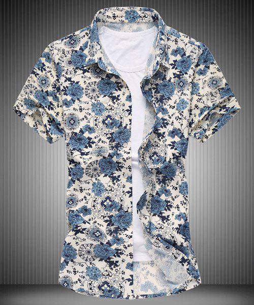 Flower Print Turn-down Collar Short Sleeves Men's Plus Size Shirt - COLORMIX M