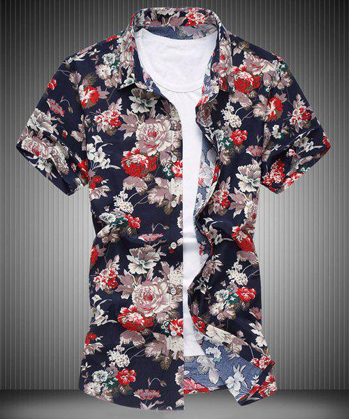 Modish Plus Size Turn-down Collar Flower Print Men's Short Sleeves Shirt