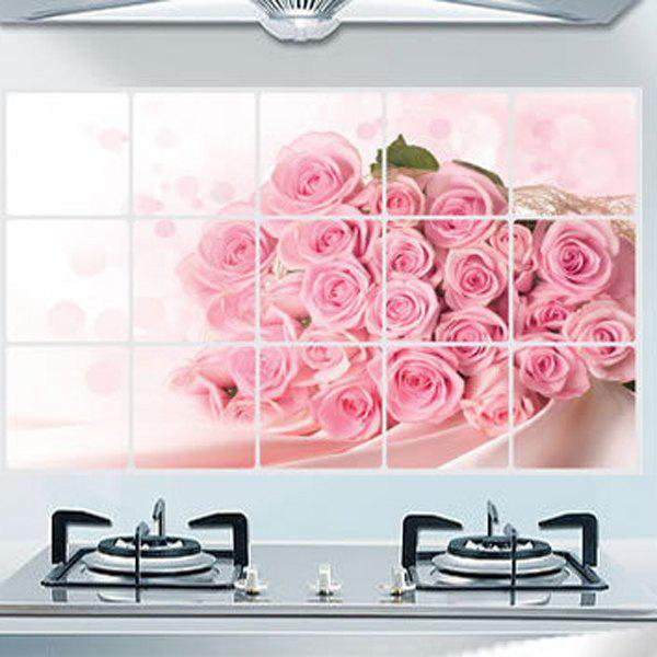 Stylish Rose Pattern Heat Resisting Kitchen Decoration Wall Stickers - PINK
