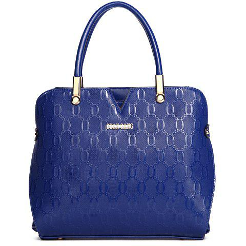 Stylish Embossing and Metal Design Women's Tote Bag - BLUE