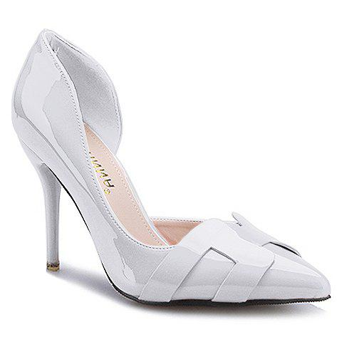 Trendy Solid Color and Patent Leather Design Pumps For Women - WHITE 37