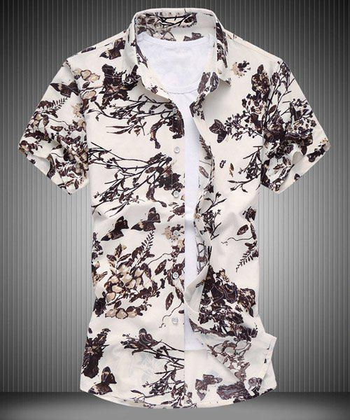 Ink Painting Floral Pattern Shirt Collar Short Sleeves Men's Plus Size Shirt - COFFEE M