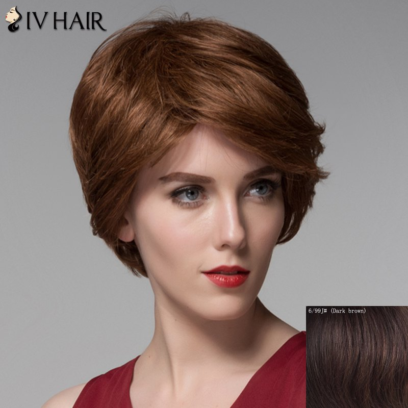 Fashion Human Hair Side Bang Curly Short Wig For Women - DARK BROWN