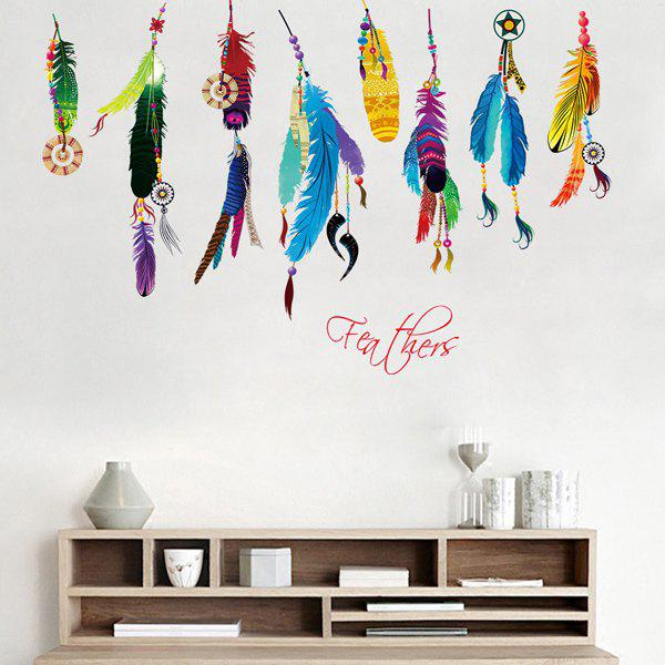 Stylish Ethnic Removable Waterproof Colorful Feather Pattern Bedroom Decoration Wall Stickers