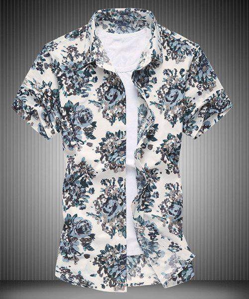 Plus Size Rose Print Turn-down Collar Short Sleeves Men's Shirt - GRAY 2XL