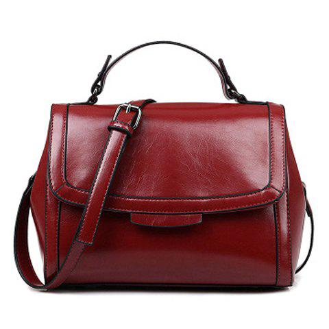 Trendy Solid Colour and PU Leather Design Women's Shoulder Bag - WINE RED