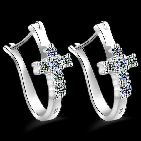 Pair of Cross Rhinestone Earrings - SILVER