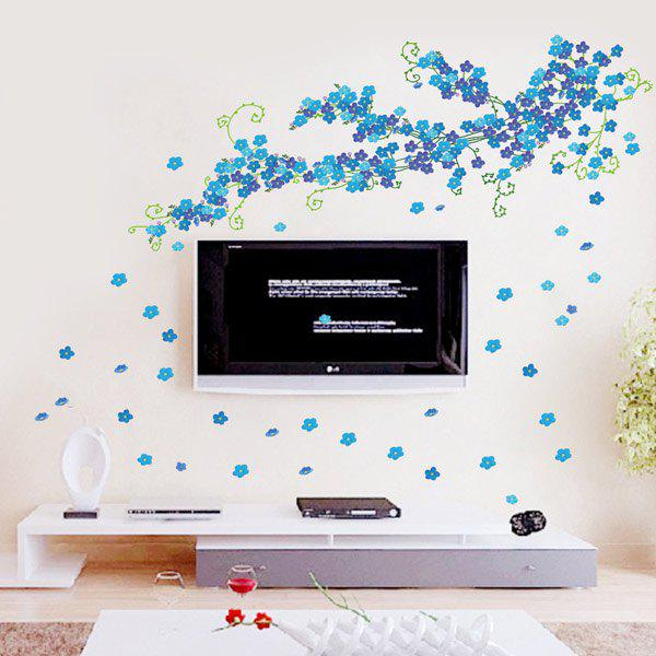 Stylish Large Size Blue Florals Pattern TV Background Decoration Wall Stickers