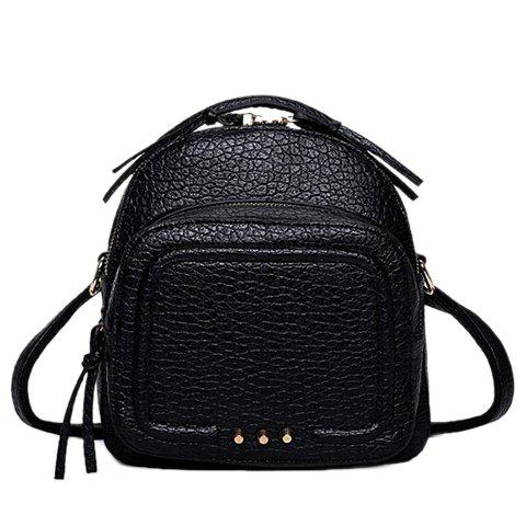 Preppy Style Stitching and Solid Color Design Women's Satchel - BLACK