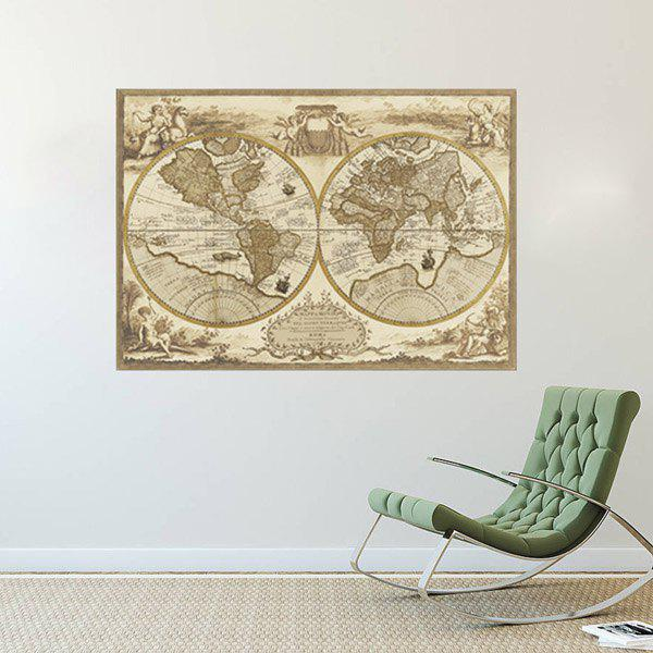 Stylish Removable World Map Pattern Bedroom Decoration Wall Stickers