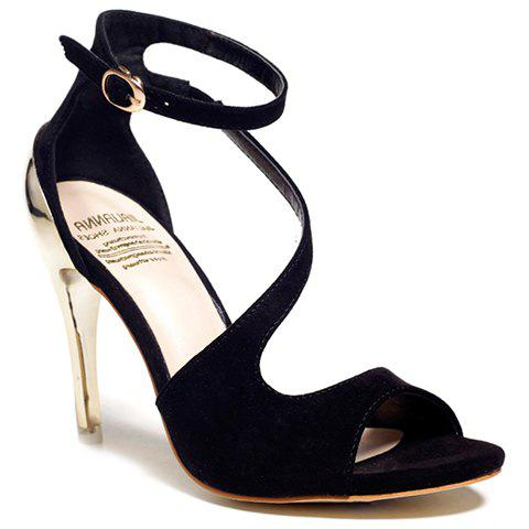 Elegant Peep Toe and Suede Design Sandals For Women - BLACK 39