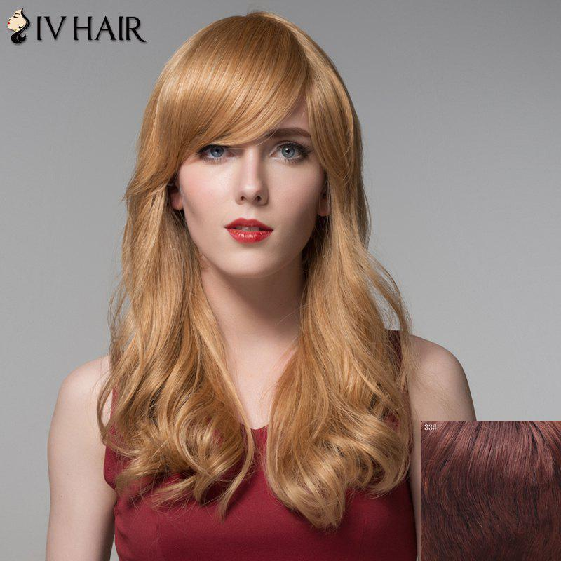 Fashion Human Hair Side Bang Curly Long Wig For Women - DARK AUBURN BROWN