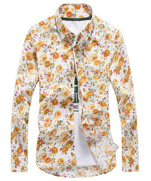 Casual Turn-down Collar Flower Print Long Sleeves Men's Slim Fit Shirt - YELLOW XL
