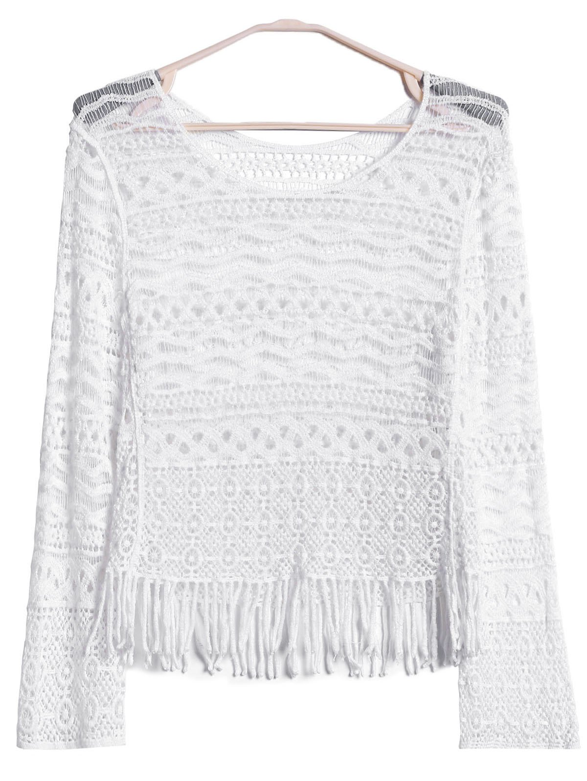 Sexy Scoop Neck Long Sleeve Hollow Out Tassels Embellished Women's Cover-Up - WHITE ONE SIZE(FIT SIZE XS TO M)