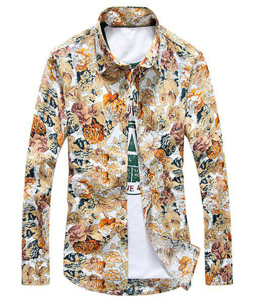 Flower Print Slimming Turn-down Collar Full Sleeves Men's Shirt - COLORMIX M