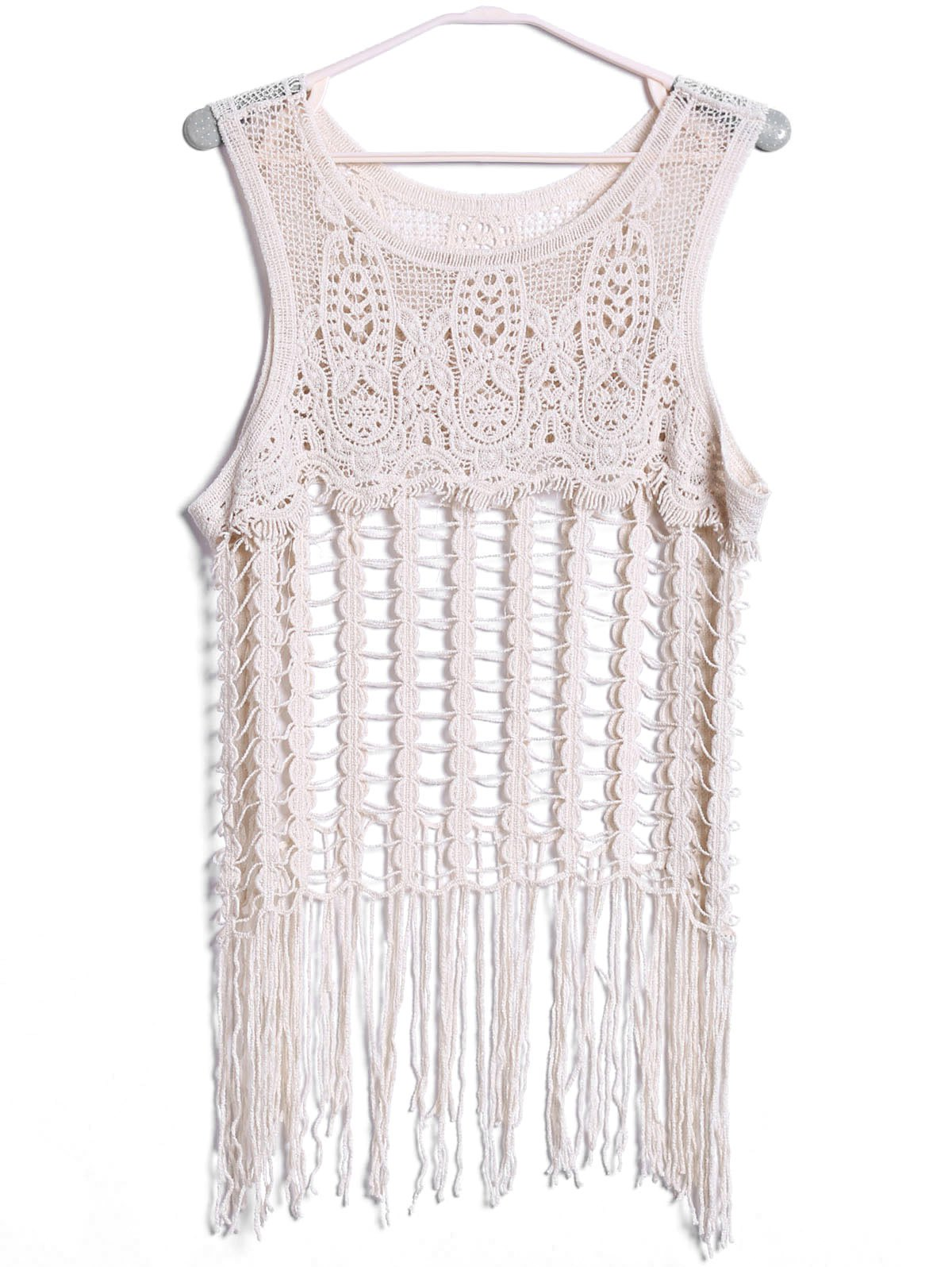 Sexy Scoop Neck Sleeveless Cut Out Tassels Solid Color Women's Tank Top - OFF WHITE ONE SIZE(FIT SIZE XS TO M)