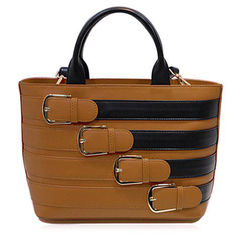Stylish Color Block and Buckles Design Women's Tote Bag - BROWN