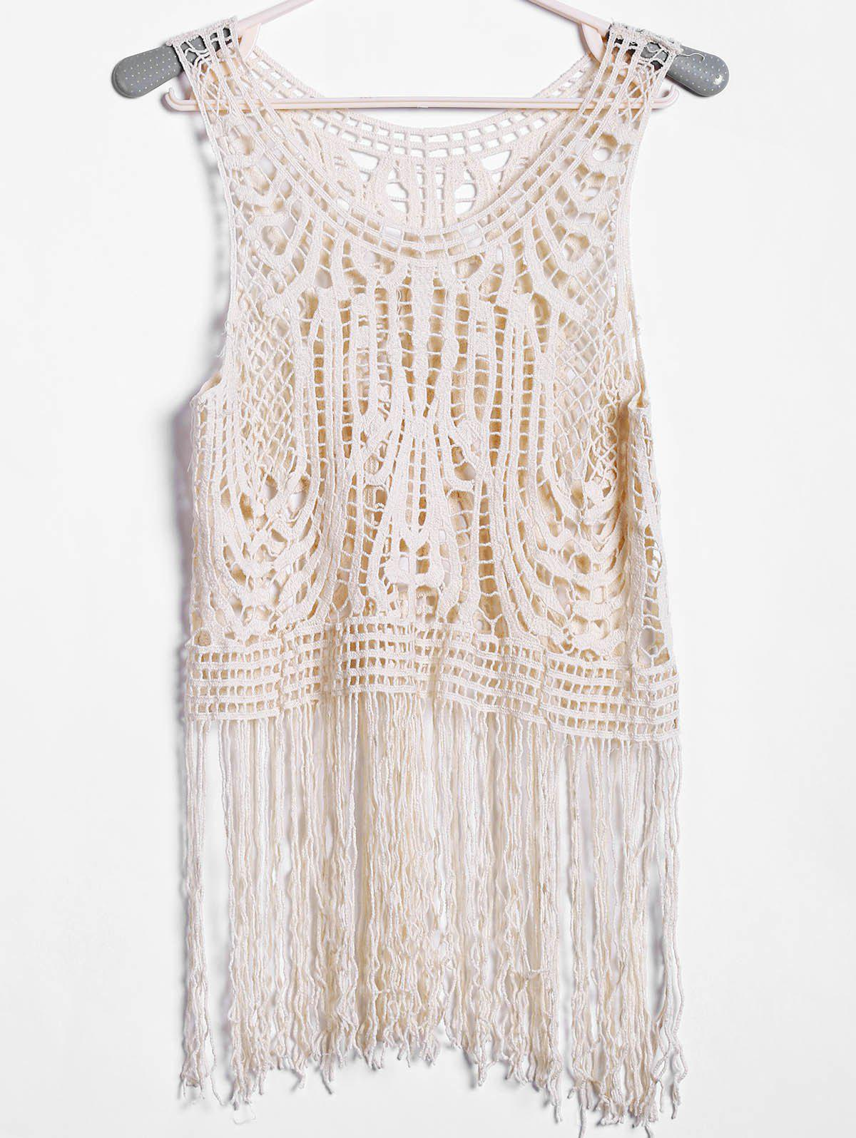 Sexy Scoop Neck Sleeveless Hollow Out Tassels Solid Color Women's Tank Top - NUDE ONE SIZE(FIT SIZE XS TO M)