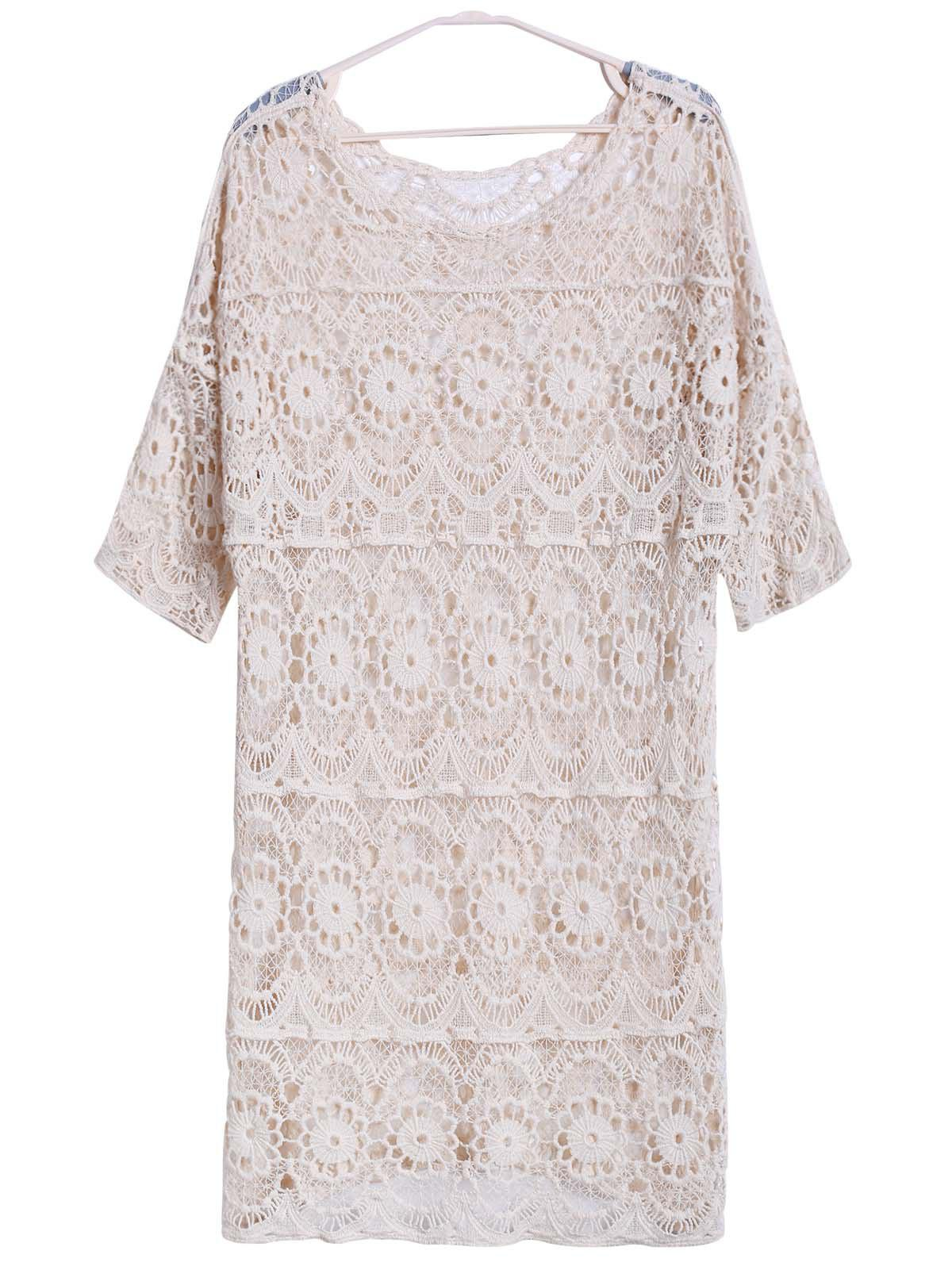 Sexy Scoop Neck 3/4 Sleeve Hollow Out Women's Cover-Up - NUDE ONE SIZE(FIT SIZE XS TO M)