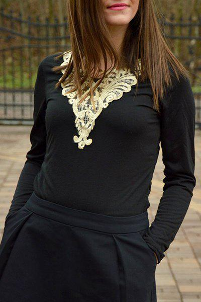 Fashionable V-Neck Lacework Splicing Long Sleeve T-Shirt For Women - BLACK M