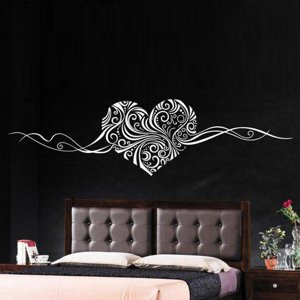 Stylish Heart Vine Pattern Bedroom Decoration Wall Stickers - WHITE