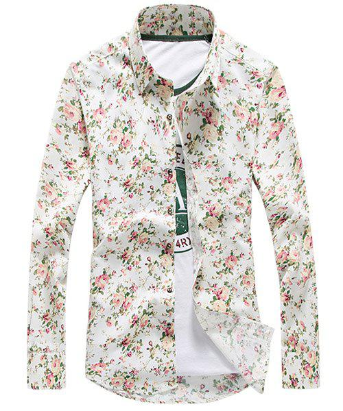 Refreshing Slimming Turn-down Collar Long Sleeves Men's Floral Shirt - WHITE M