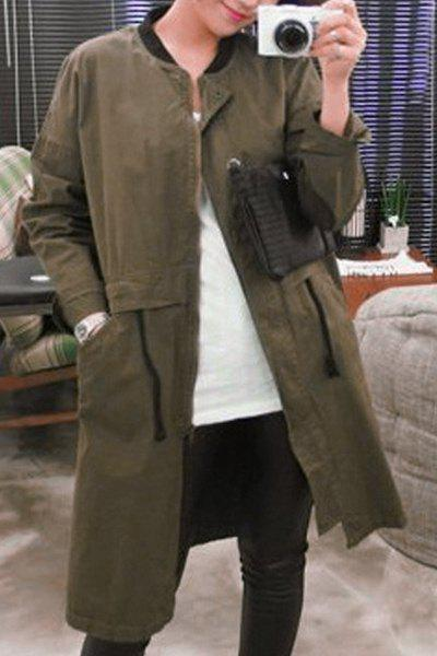 Chic Long Sleeve Stand Collar Letter Print Pocket Design Women's Coat - ARMY GREEN L