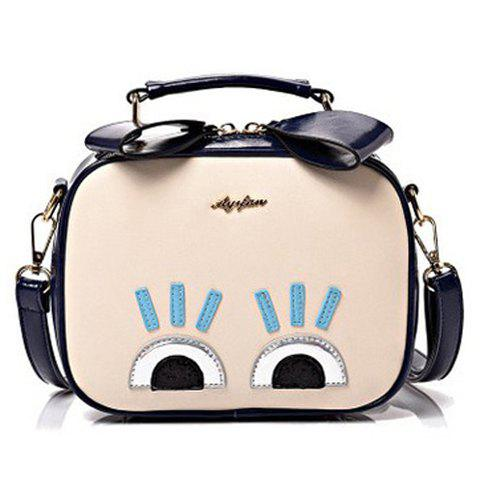 Stylish Colour Block and Eyes Design Women's Crossbody Bag - SAPPHIRE BLUE