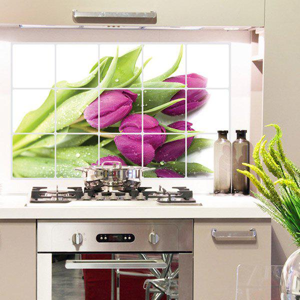 Stylish Removable Tulip Pattern Heat Resisting Kitchen Decoration Wall Stickers - PURPLE