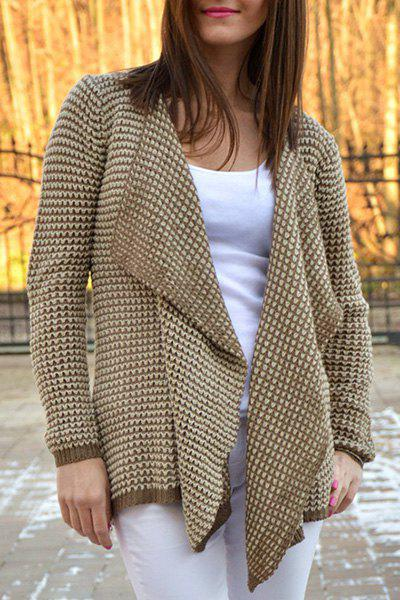Casual Collarless Knitted Long Sleeve Cardigan For WomenWomen<br><br><br>Size: XL<br>Color: KHAKI