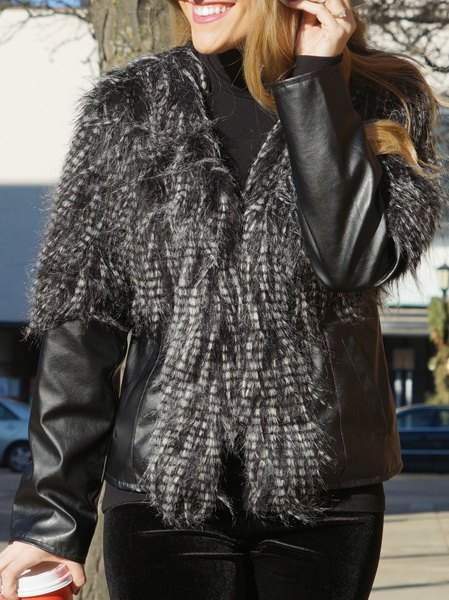 PU Leather Faux Fur Jacket - BLACK M