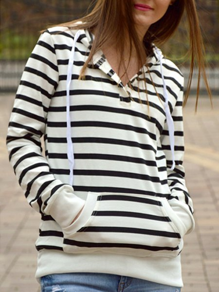 Long Sleeve Zippered Striped Women's Hoodie, BLUE/WHITE, M in ...