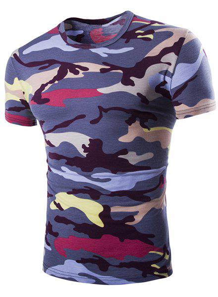 Vogue Round Neck Camo Print Short Sleeves Men's Loose Fit T-Shirt - PURPLE L