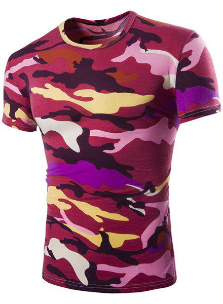 Vogue Round Neck Camo Print Short Sleeves Men's Loose Fit T-Shirt - RED L