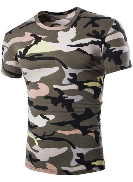 Vogue Round Neck Camo Print Short Sleeves Men's Loose Fit T-Shirt - ARMY GREEN L