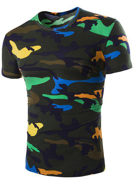 Vogue Round Neck Camo Print Short Sleeves Men's Loose Fit T-Shirt plain loose fit round neck mens causal t shirt