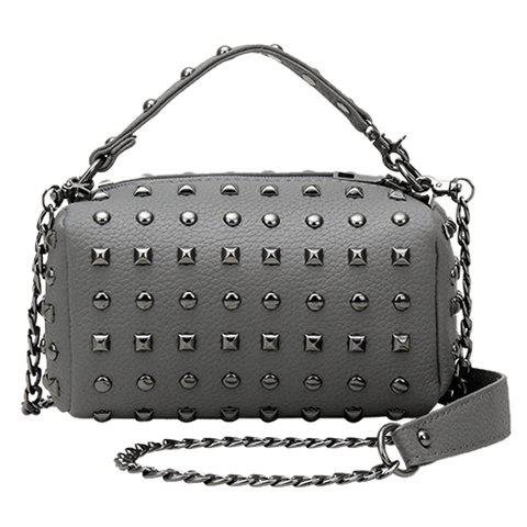 Stylish Rivets and Chains Design Women's Tote Bag - GRAY