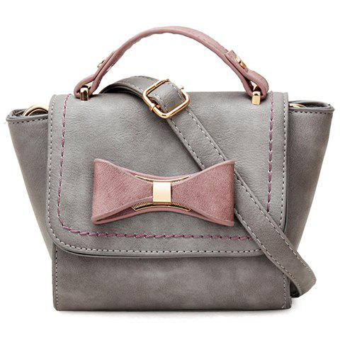 Fashionable Color Block and Bow Design Women's Shoulder Bag - GRAY