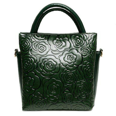 Trendy Solid Color and Floral Embossing Design Women's Tote Bag - GREEN